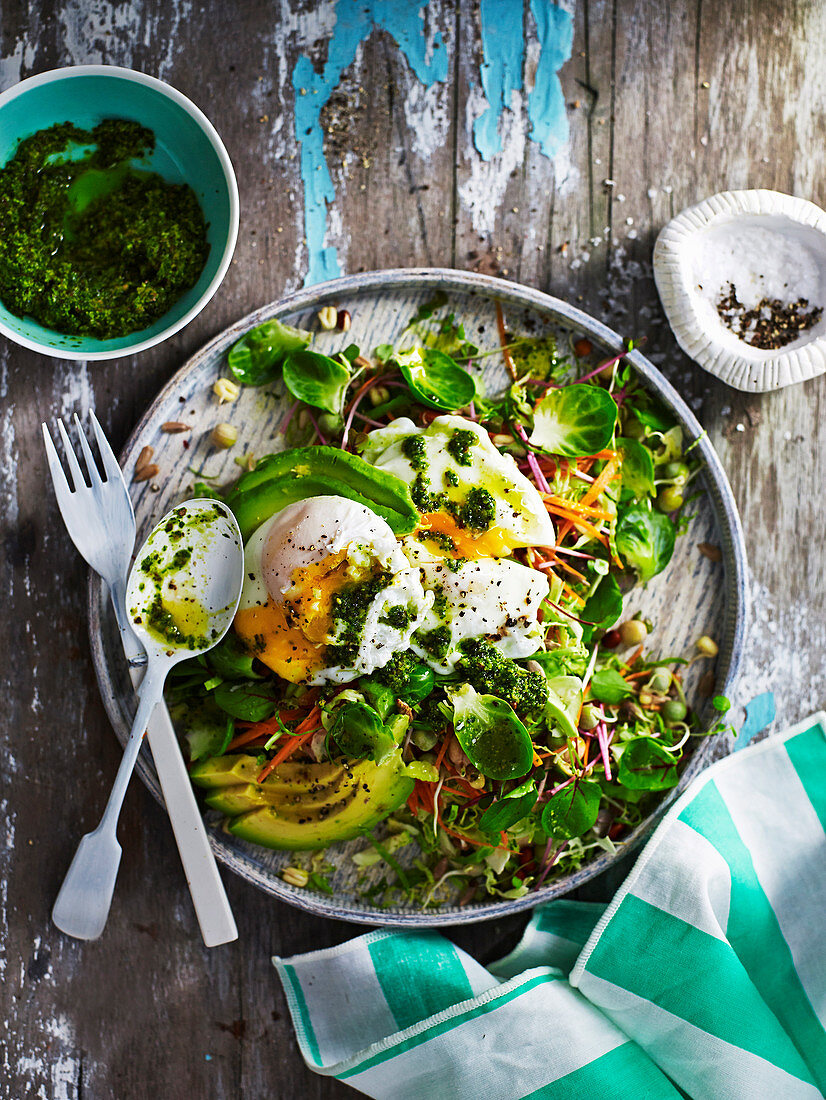 Salad with Poached Egg and Kale Pesto