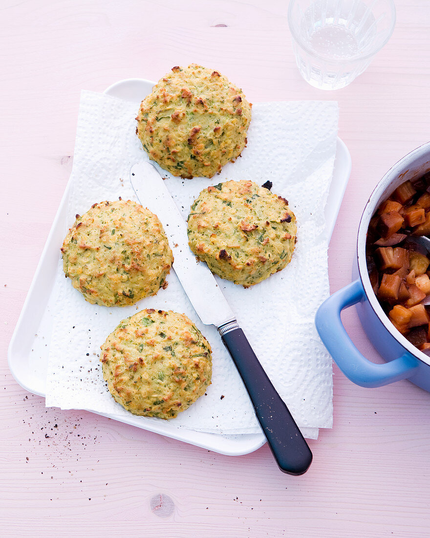 Lentil fritters with an aubergine medley