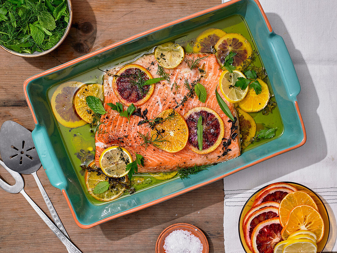 Slow-Roasted Citrus Salmon With Herb Salad