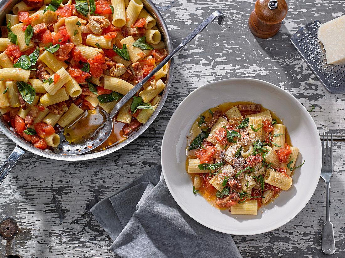 Ziti Pasta with Prosciutto, Whole Garlic and Tomato