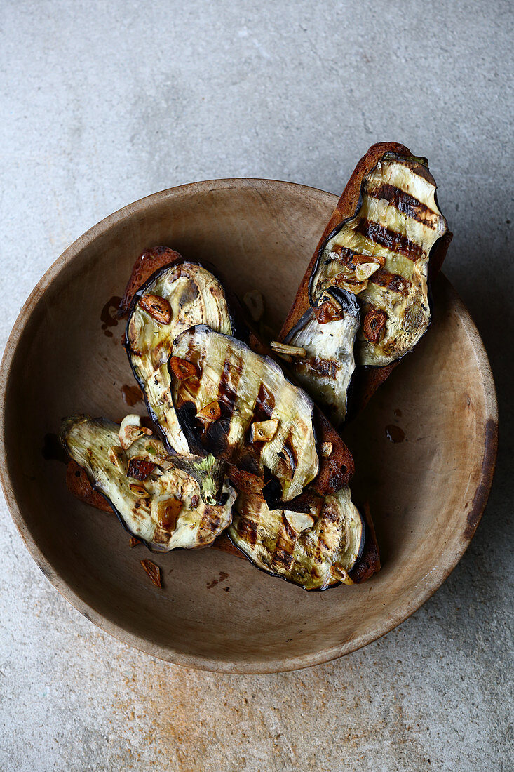 Grilled eggplants on farmhouse bread
