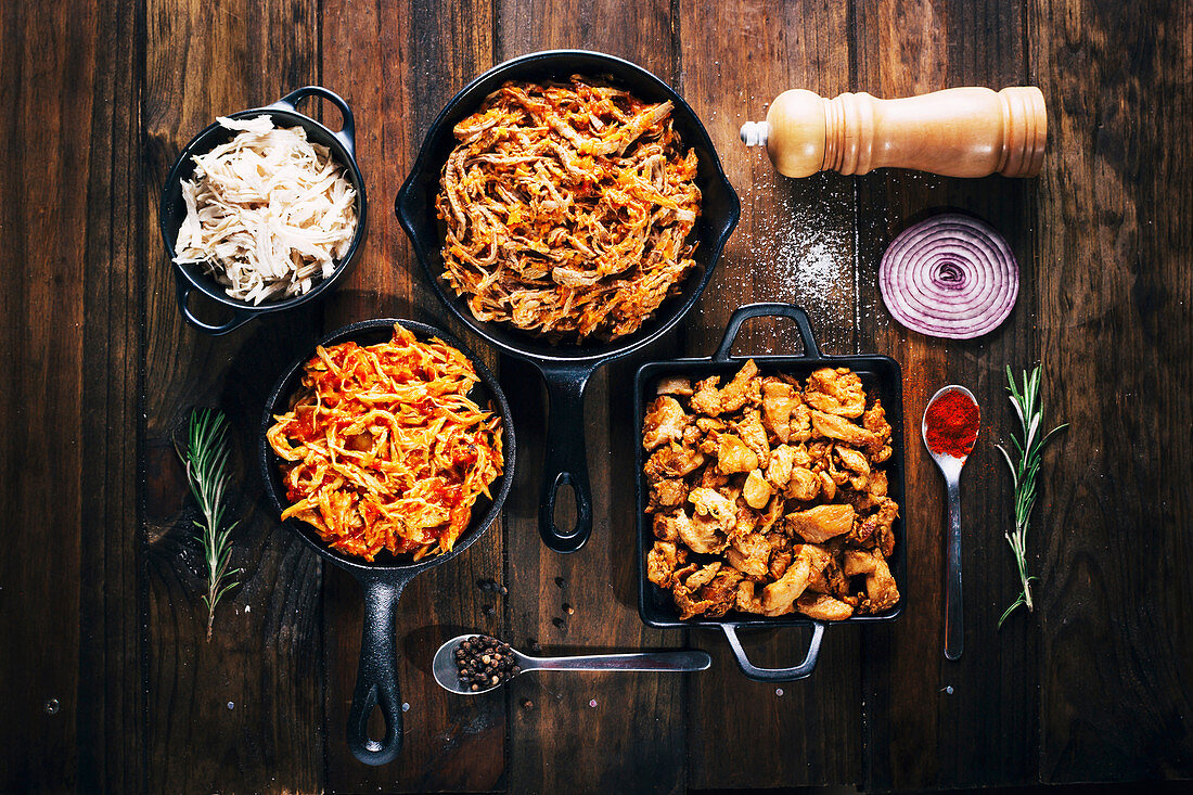 Tasty dishes in frying pans