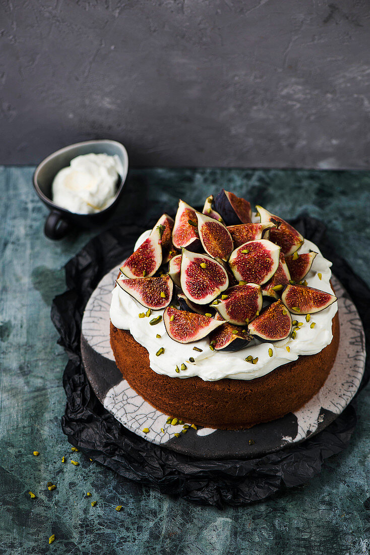 A fig cake with mascarpone cream