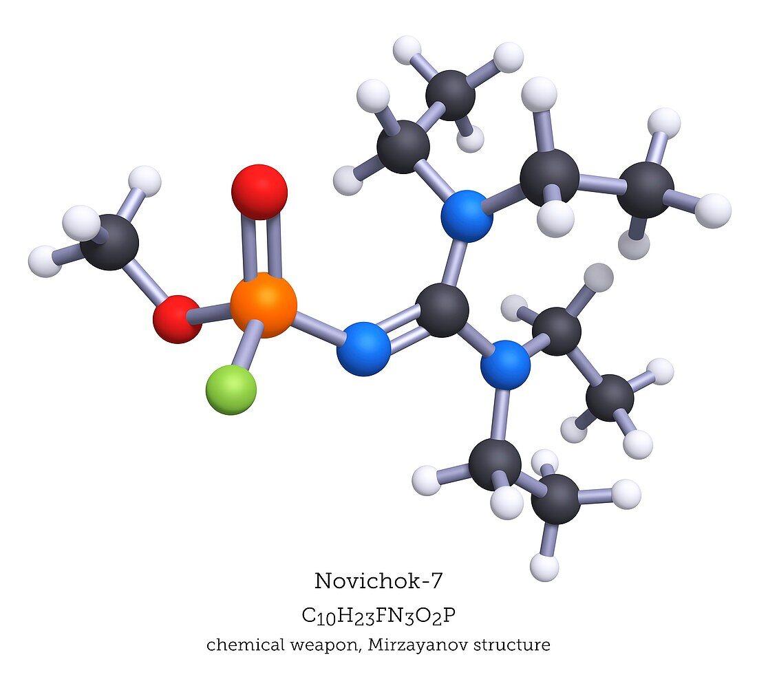 Novichok-7 nerve agent, molecular model