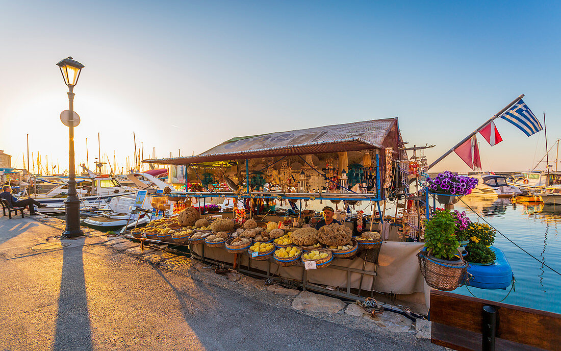 Souvenirs and sea sponges for sale on a boat in Chania (Crete, Greece)
