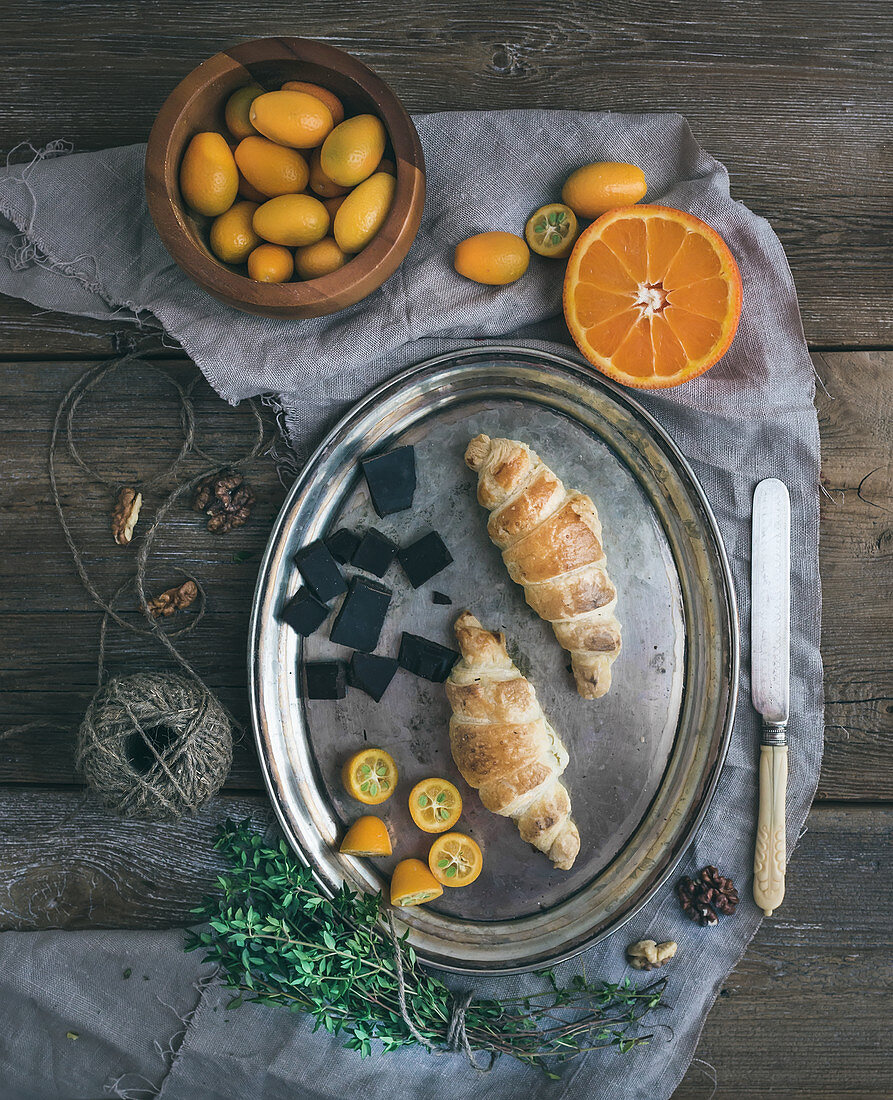 Rustic breakfast set with croissants
