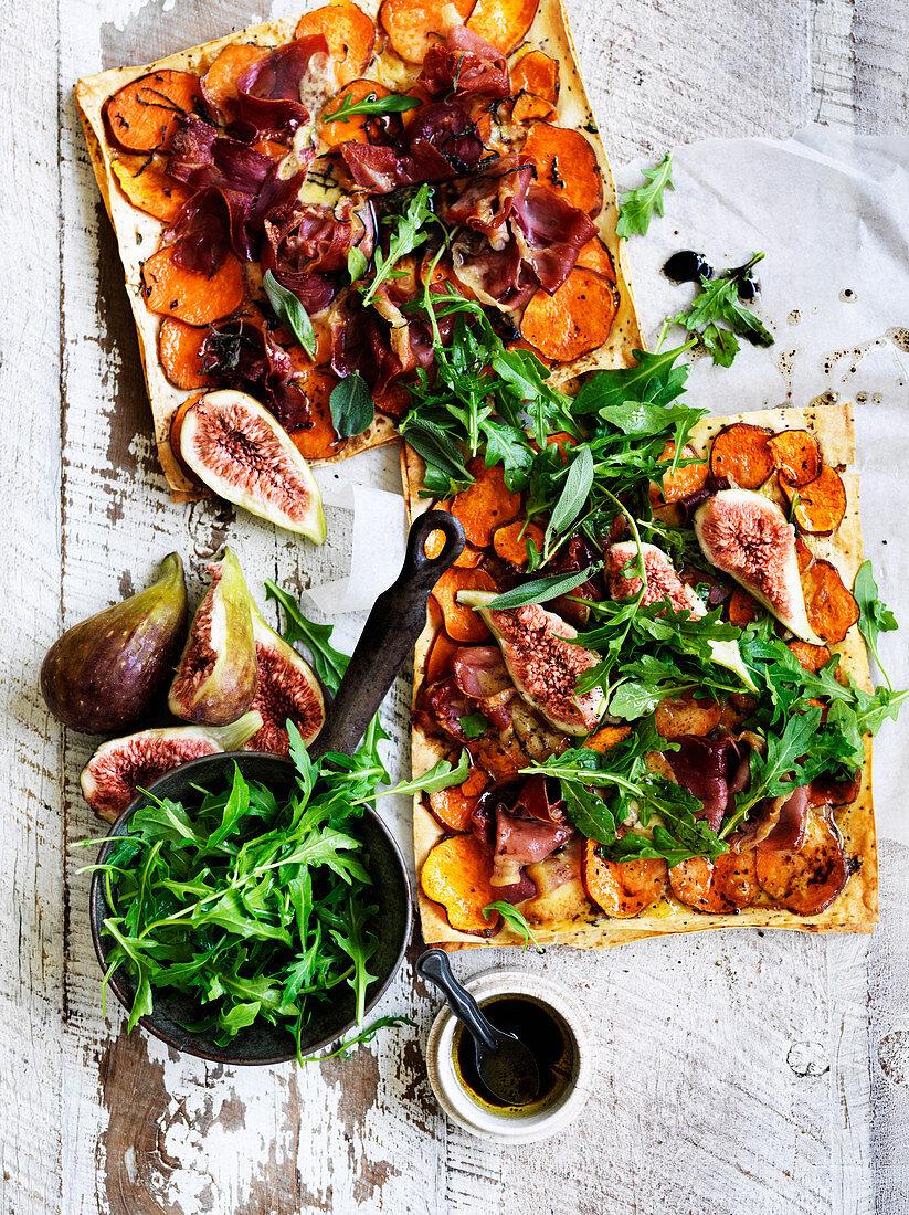 Kumara and prosciutto flatbread pizzas