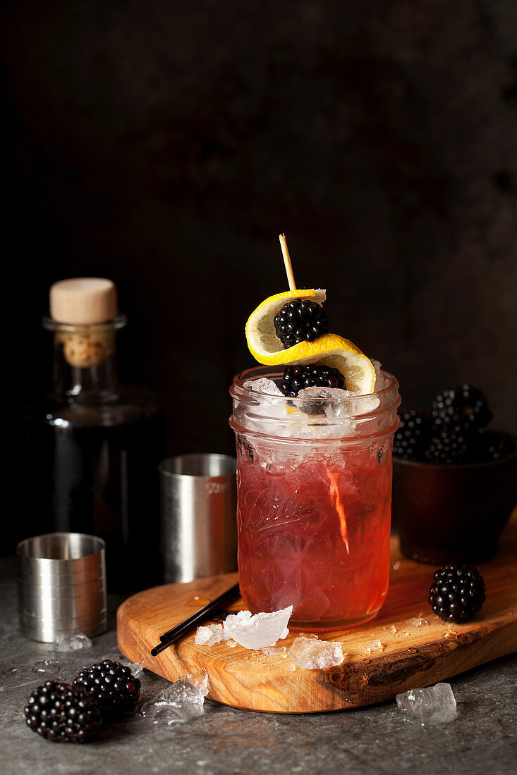 Classic Bramble Cocktail with Gin and Blackberry
