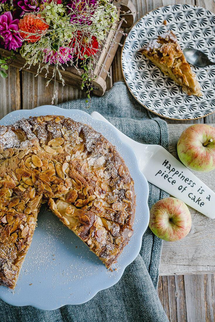 Apple cake with a honey and almond glaze