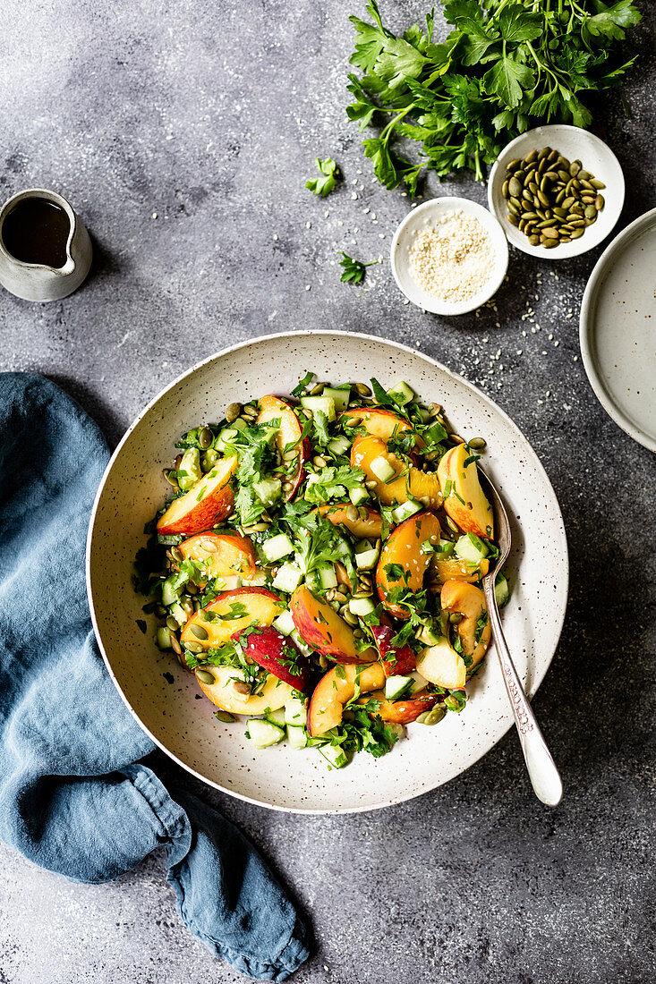 Peach and avocado salad