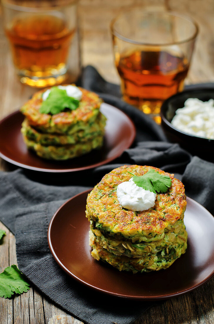 Zucchini and ricotta fritters with cilantro