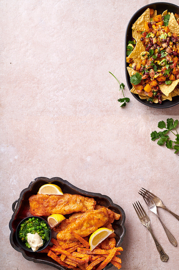 Nachos with bean-andavocado salsa - battered hake with peas and sweet potato chips