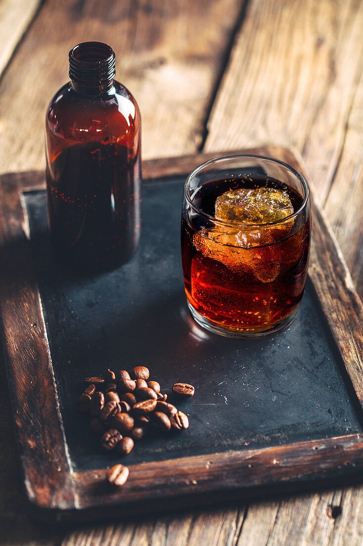 Cold brew coffee served in a glass with ice