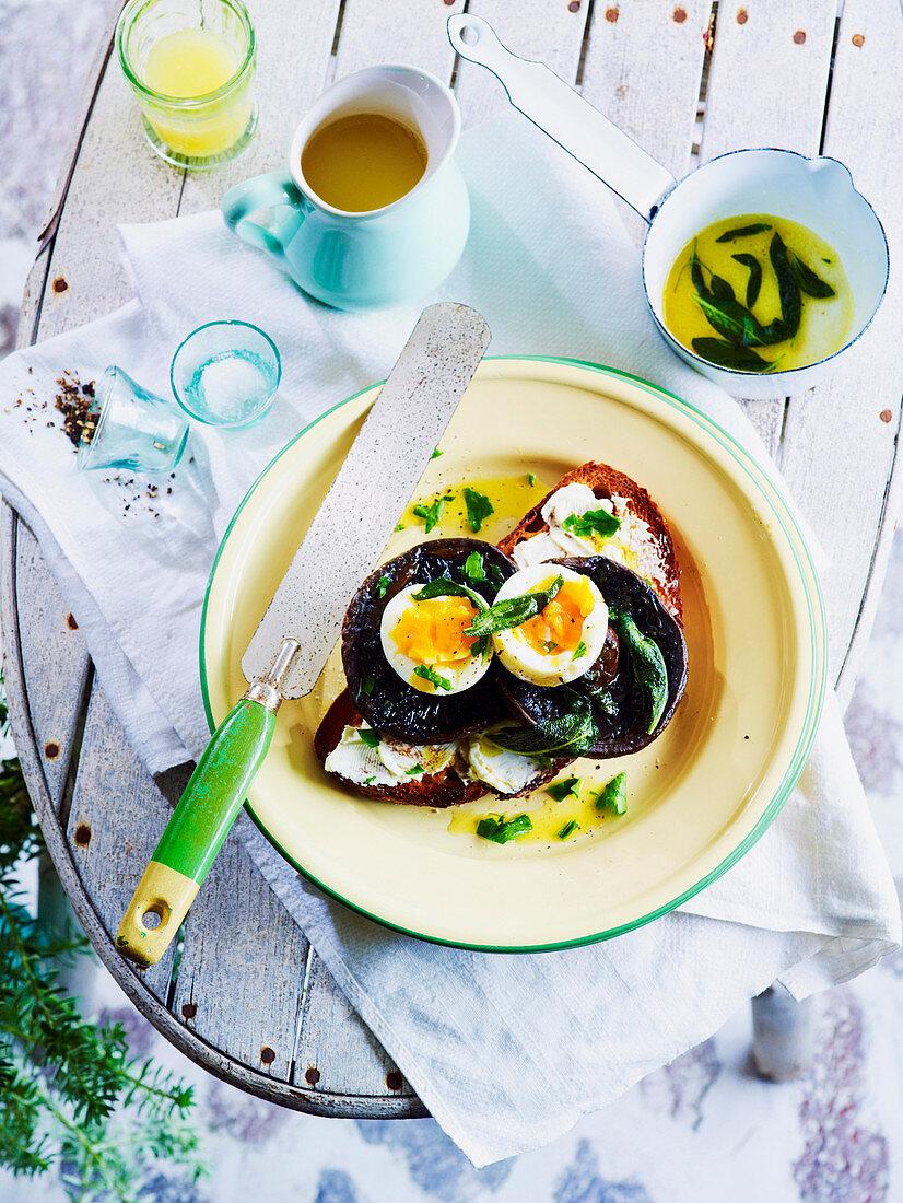 Mushroom and Egg Bruschetta with Sage Butter