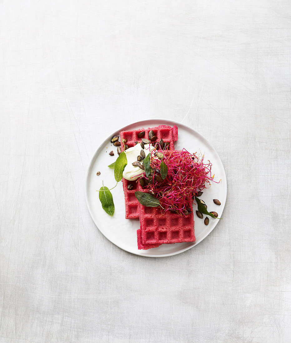 Beetroot waffles with wasabi cream cheese