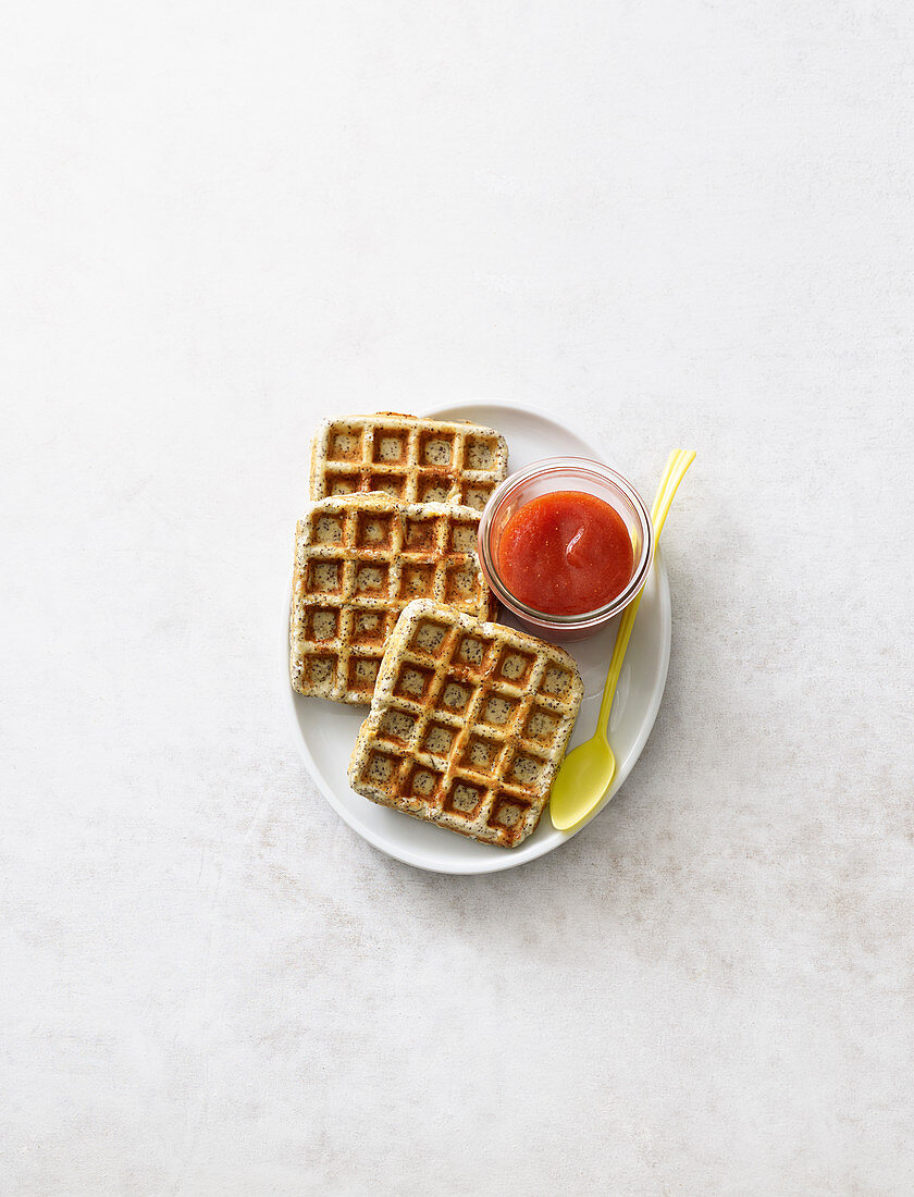 Poppy-seed waffles with quick jam