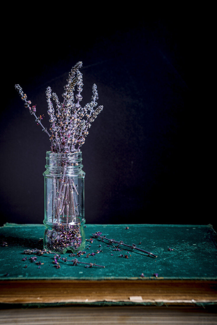 Zalotti blossom branches (African basil) in a glass vase