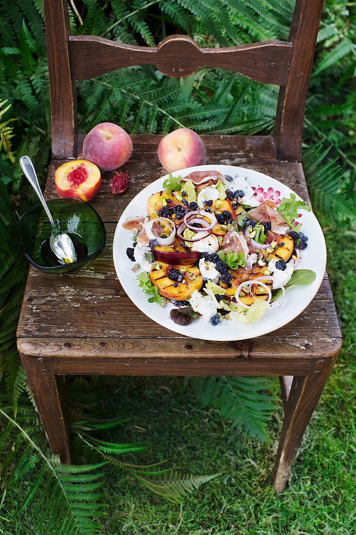Summer salad with burrata, grilled nectarines, and parma ham