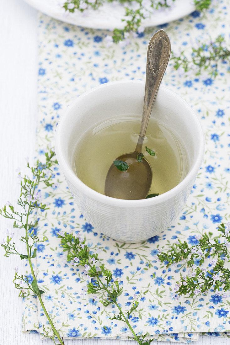 Calamint tea in a ceramic cup