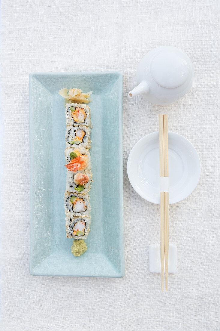 Shrimp and Asparagus Sushi Roll