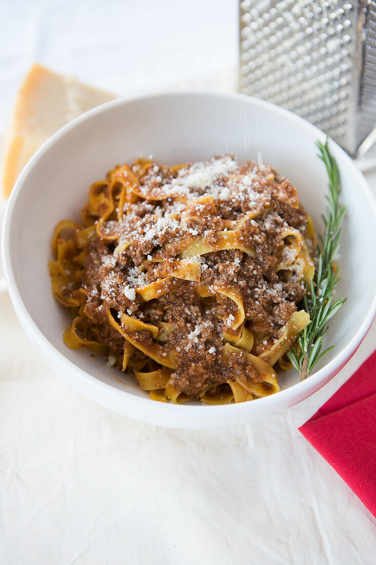 Tagliatelle with Bolognese Sauce and Parmesan