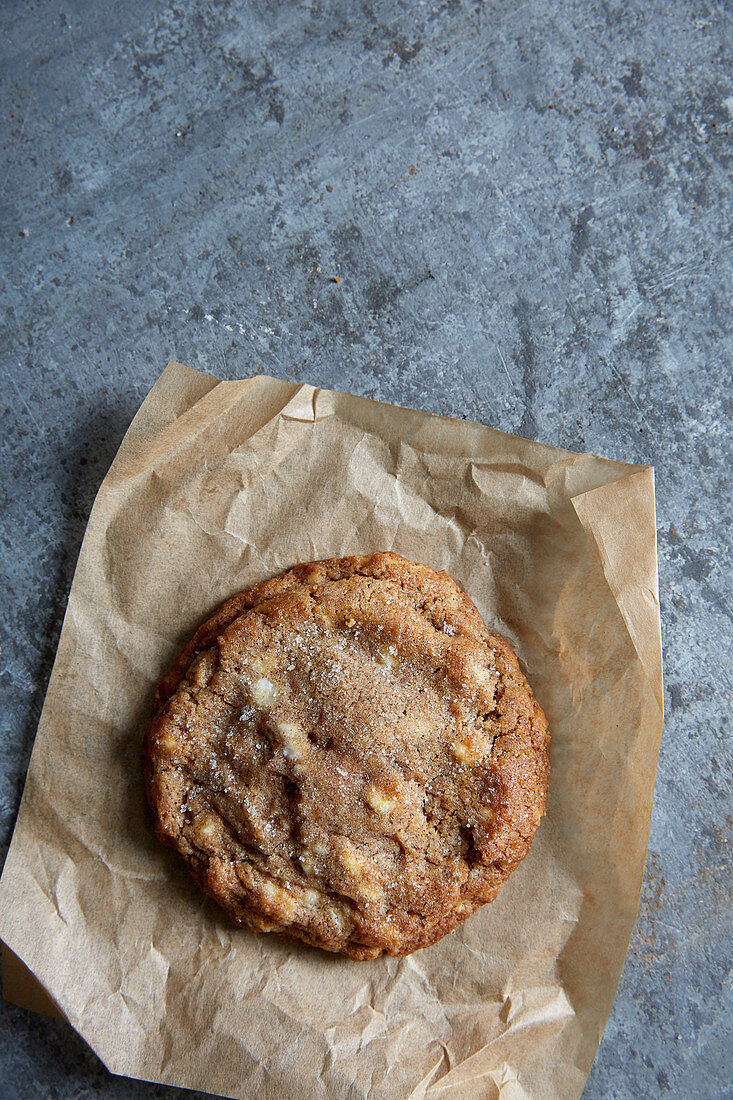 White chocolate chip cookies on baking paper