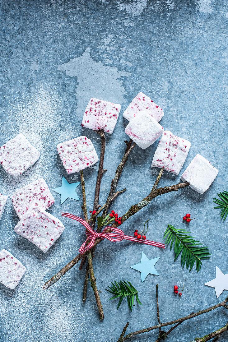 Homemade marshmallows for Christmas