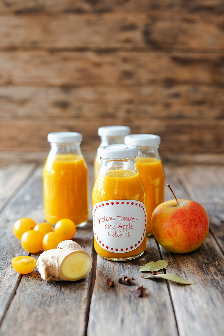 Homemade yellow tomato ketchup with apple and ginger