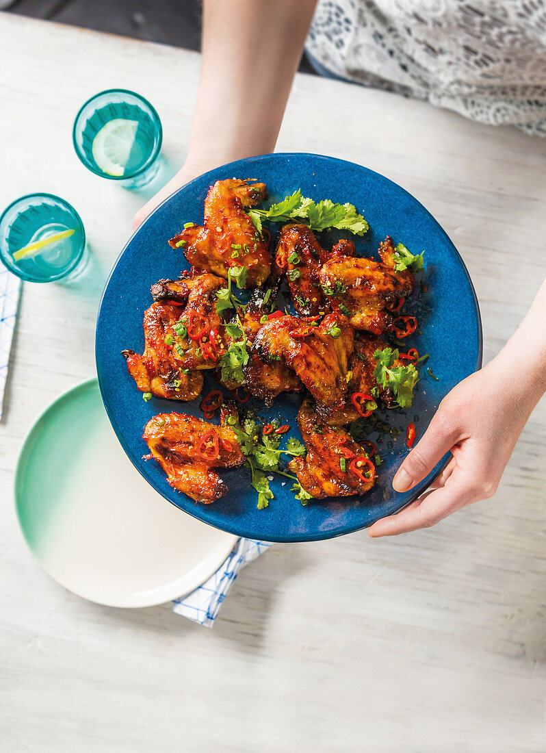 Bourbon and maple chicken wings
