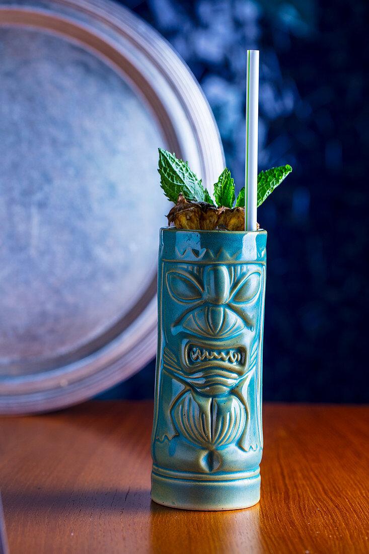 Zombie cocktail in a ceramic mug