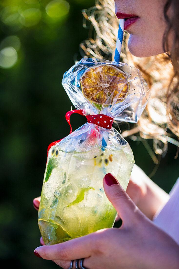 Passion fruit Mojito cocktail