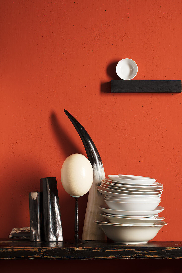 Ostrich egg, cow's horn and porcelain bowls against red wall