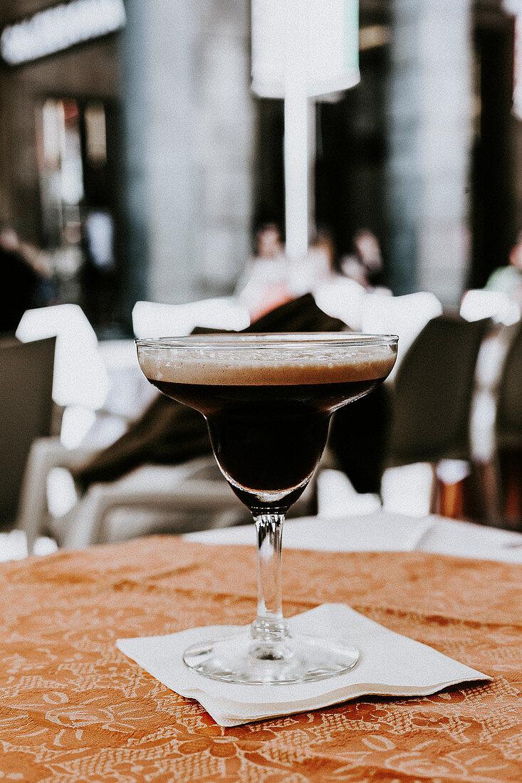 A glass of espresso martini (vodka, coffee liqueur and espresso)