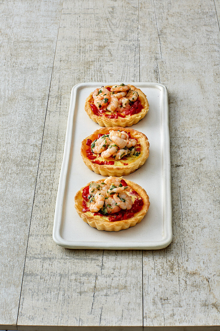 Mini pepper and prawn tarts