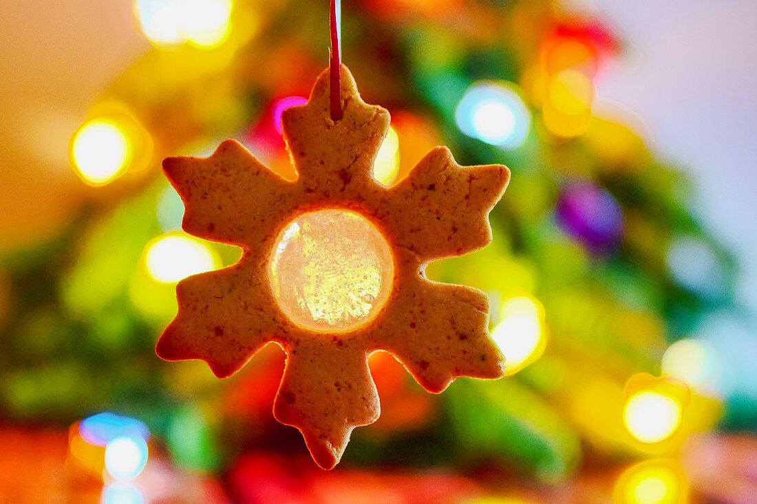 Spiced snowflake cookie tree decorations