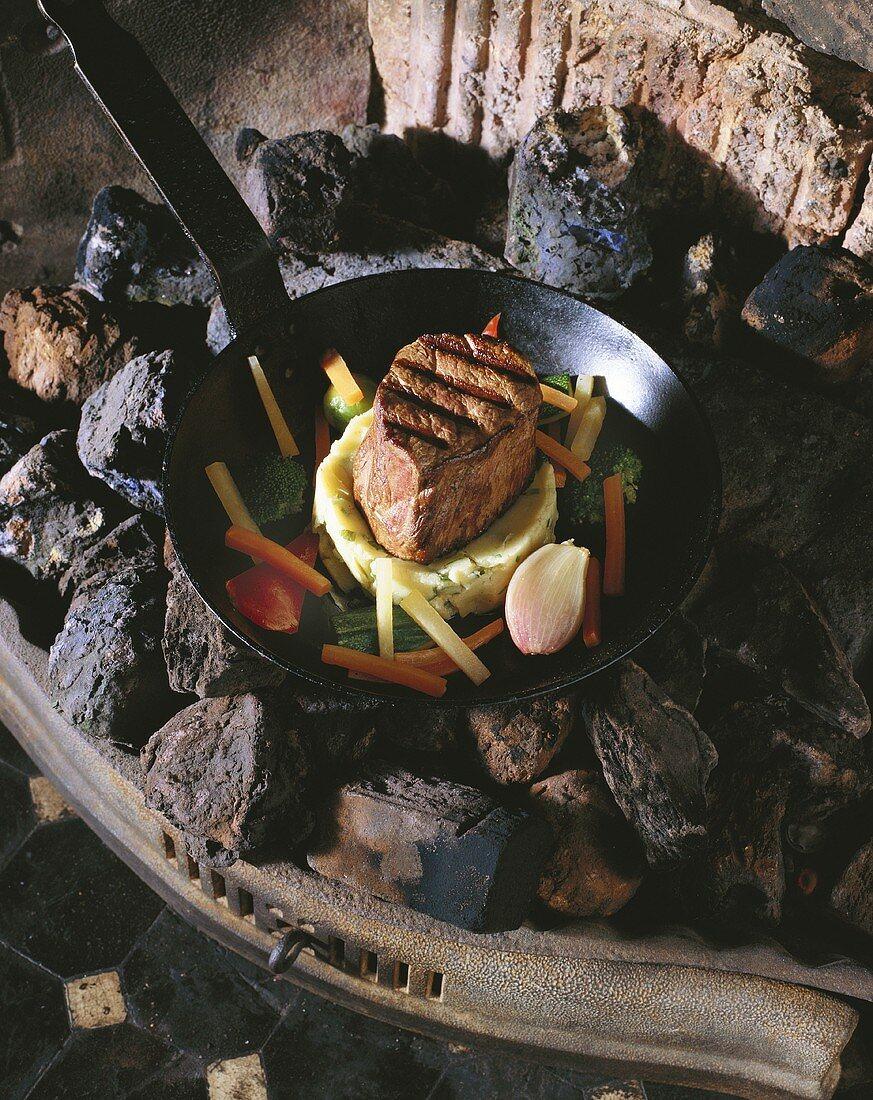 Beef fillet on potato cakes with smoked bacon sauce (Irish)