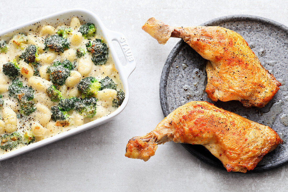 Sous vide chicken legs with broccoli gratin