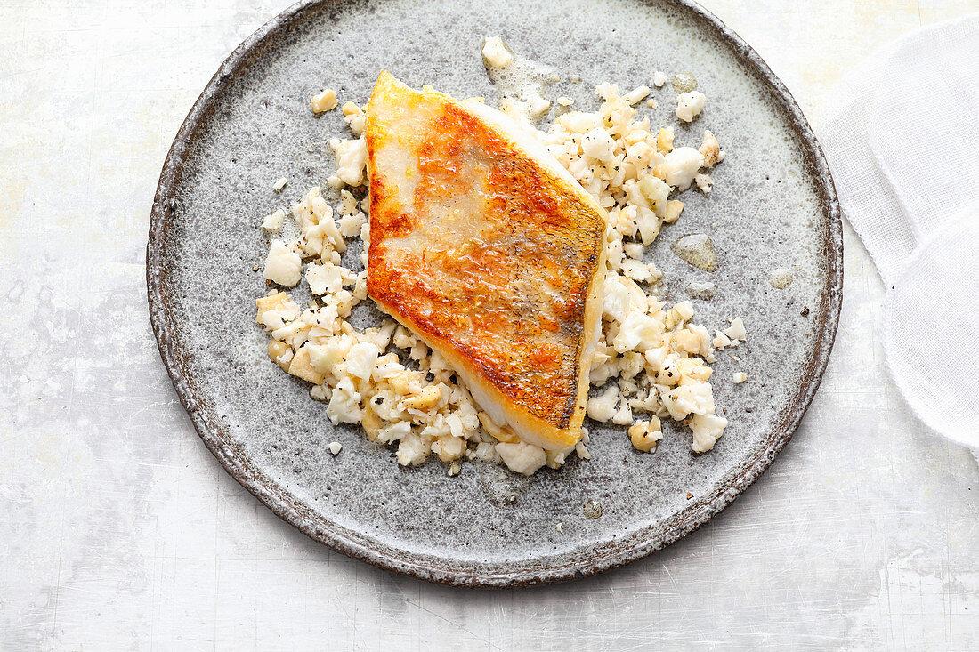 Sous vide zander with cauliflower rice