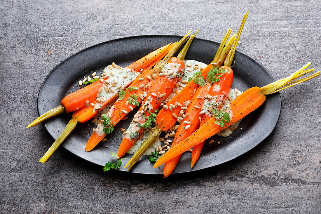 Sous vide marinated carrots with a yoghurt dressing