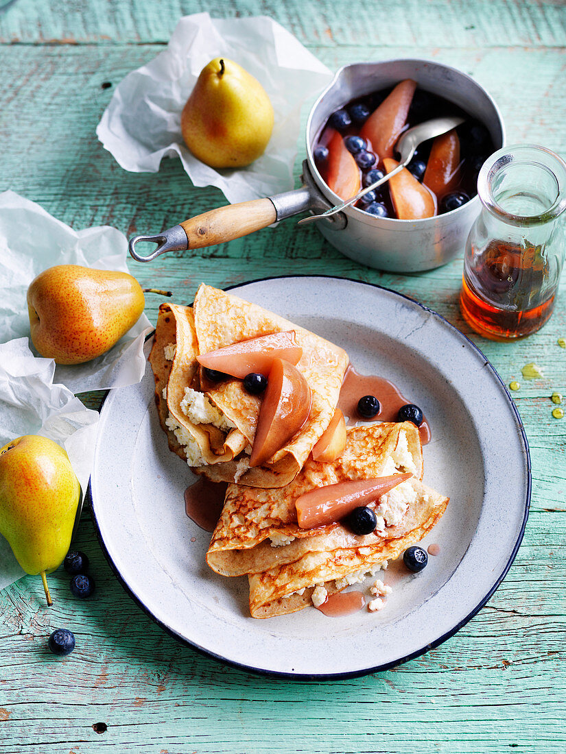 Spelt Crepes with Poached Pear and Blueberries