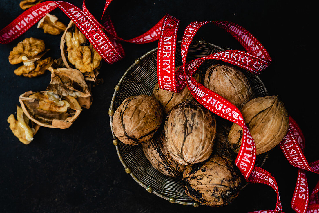 Walnuts with a Christmas ribbon