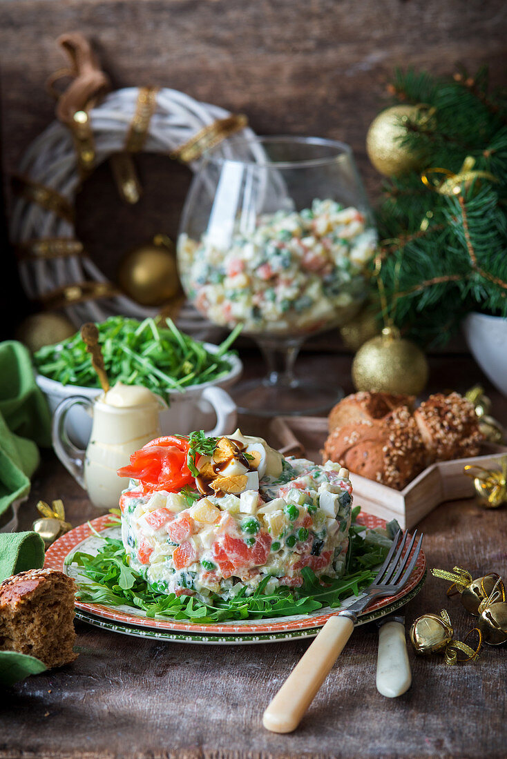 Russian Olivier salad with salmon