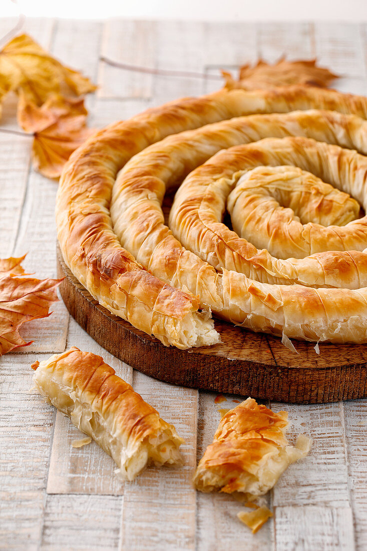 Banitsa filled with sheep's cheese (Bulgarian pastry)