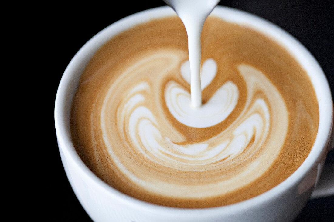 Latte art on a coffee