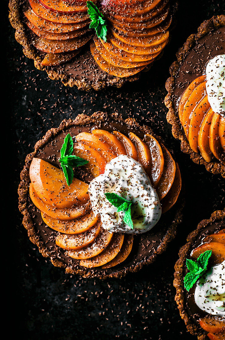 Chocolate ganache apricot tarts with almond oat pastry