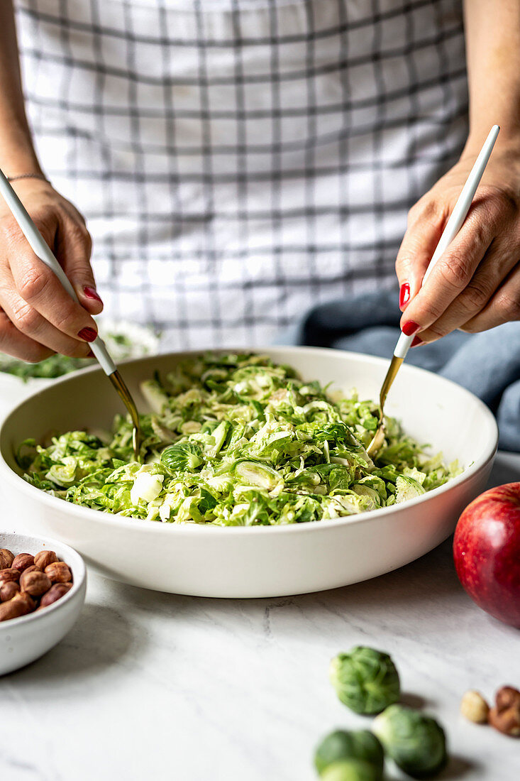 Brussels Sprout Salad being prepared