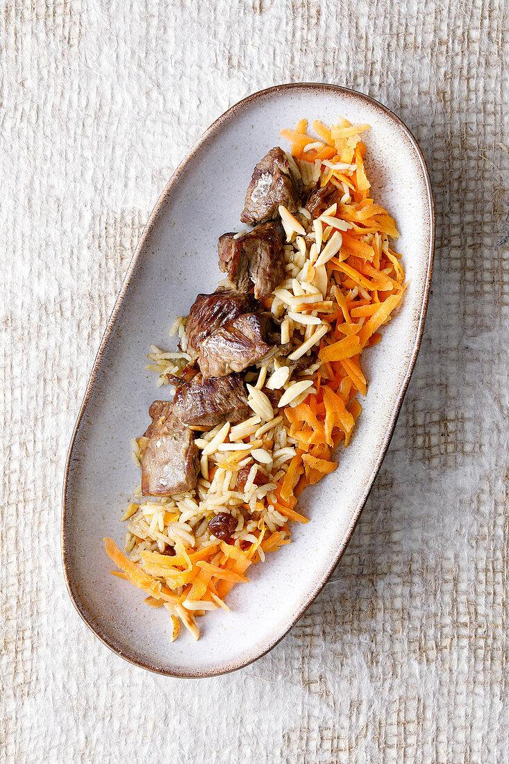 Afghan kabuli pilau with lamb