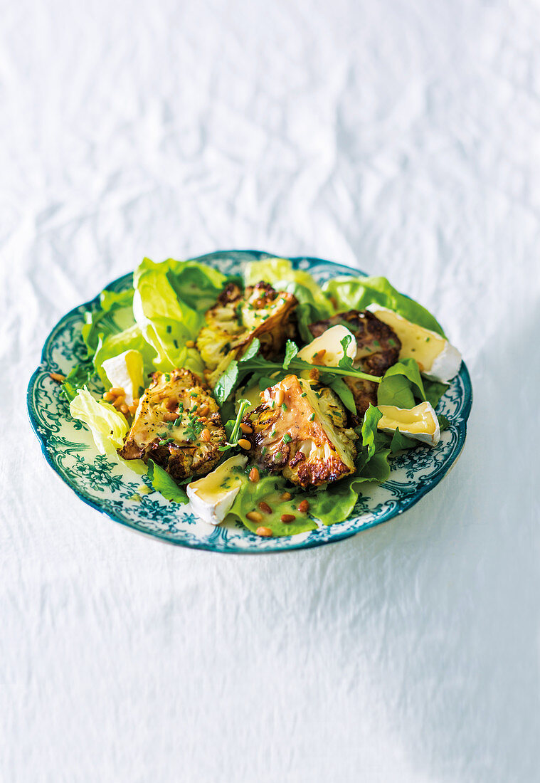Roast cauliflower and camembert salad