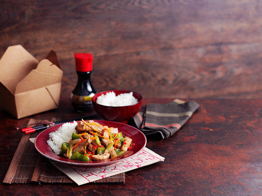 Cantonese pork with rice and soy sauce
