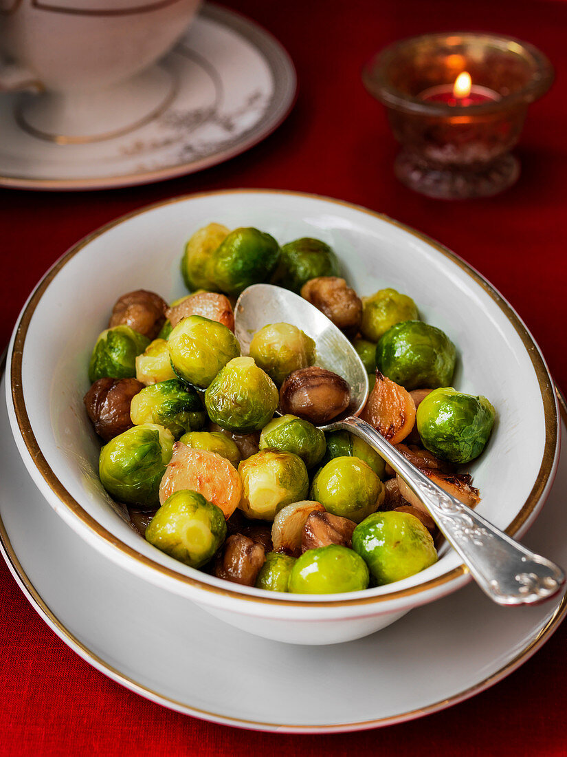 Brussel Sprouts with chestnuts in large serving dish
